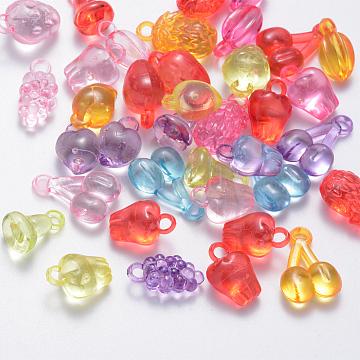 Transparent Acrylic Fruit Pendants, Mixed Fruit Shape, Mixed Color, 18~30x6~16x5~13mm, Hole: 3~4mm(X-TACR-Q269-01)