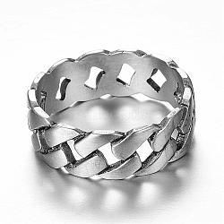 Bagues en 316 acier inoxydable, anneaux large bande, taille 7, argent antique, 17mm(RJEW-P116-05-17mm)