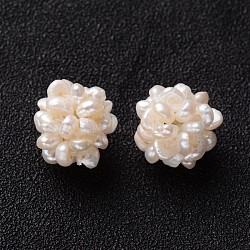 Round Handmad Natural Cultured Freshwater Pearl Cluster Beads, Seashell Color, 12mm, Hole: 1.5mm(X-PEAR-I002-01)