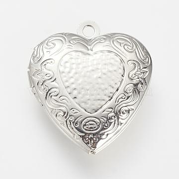 Brass Locket Pendants, Cage Pendants, Heart, Platinum, 22x19x5mm, Hole: 1.5mm, inner measure: 14x11mm(X-KK-R037-174P)