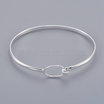 Brass Bangle Making, Silver Color Plated, 63x50x3mm(X-BJEW-B133-01S)
