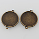 Antique Bronze Tibetan Style Alloy Cabochon Connector Settings(X-TIBE-M022-01AB-NF)-2