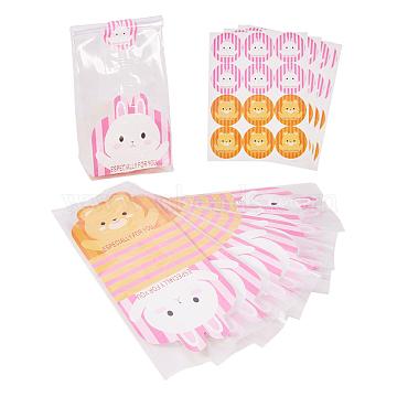 Sacs d'emballage bricolage, avec un joli lapin et un ours, autocollant, couleur mixte, 23x8.9cm; 5cm; 21x8.5cm(PE-PH0001-04)