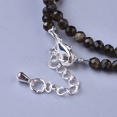 Natural Golden Sheen Obsidian Beaded Necklaces(NJEW-K114-A-A19)-3