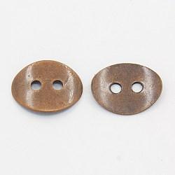 Laiton bouton fermoirs, sans nickel, cuivre rouge, environ 10 mm de large, Longueur 14mm, épaisseur de 1mm, Trou: 1mm(X-KK-G080-R-NF)