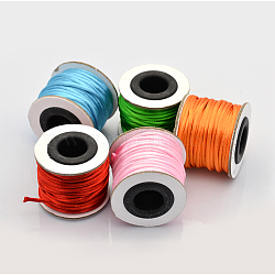 Macrame Rattail Chinese Knot Making Cords Round Nylon Braided String Threads, Satin Cord, Mixed Color, 2mm, about 10.93 yards(10m)/roll(NWIR-O001-A-M2)