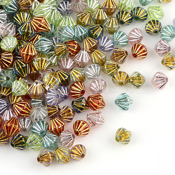 Plating Transparent Acrylic Beads, Metal Enlaced, Bicone, Mixed Color, 6x6.5~7mm, Hole: 1.5mm(X-PACR-Q112-03)