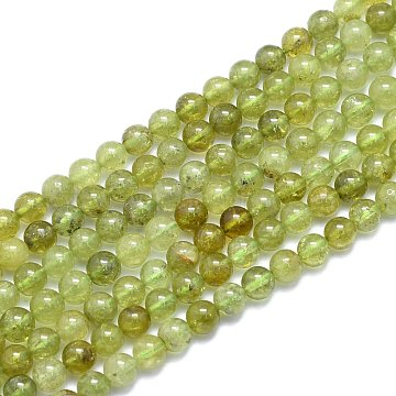 Natural Green Garnet Beads Strands, Round, Alice Blue, 6mm, Hole: 0.8mm; about 60pcs/Strand, 14.96 inches(38cm)(G-K310-C17-6mm)