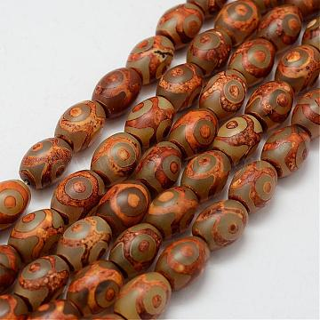 Tibetan Style 3-Eye dZi Beads Strands, Natural Agate Beads, Dyed & Heated, Barrel, Peru, 11.5~12.5x14.5~16mm, Hole: 1.5~2mm; about 22pcs/strand, 13.4~13.7inches(340~350mm)(TDZI-G010-G01)