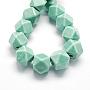 21mm Aigue-marine Polygone Porcelaine Perles(X-PORC-S439-02)