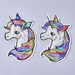 Informatisée broderie chiffon fer sur les patchs, avec paillette, accessoires de costumes, appliques, licorne, colorées, 108x69x1.5mm(X-FIND-T030-102)