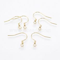 304 из нержавеющей стали серьги крючки, золотой, 17~18x18~20x2 mm, отверстия: 2 mm; контактный: 0.7 mm