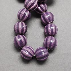 Perles en porcelaine manuelles, porcelaine émaillée lumineux, citrouille, violet, 13x12mm, Trou: 2mm(PORC-Q204-1)