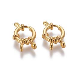 304 пружинные кольца из нержавеющей стали, кольцо, золотой, 12.5x4 mm, отверстия: 2.5 mm(STAS-G190-17G)