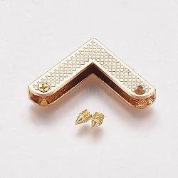 Zinc Alloy Bag Corner Protectors, with Screw, Light Gold, 22.7x22.7x5.5mm, Hole: 2.5mm(X-PALLOY-WH0008-01KCG)