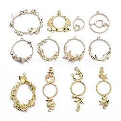 Pendentifs / maillons de lunette arrière, pour diy uv résine, une résine époxy, Bijoux à fleurs pressées, formes mixtes, or, 12 pièces / kit(PALLOY-X0037-20G)