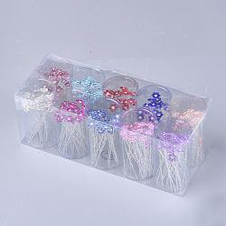 вилки железа волос, с стразами, цветок, cmешанный цвет, 66 мм; около 200 шт / коробка(OHAR-S200-09-B)