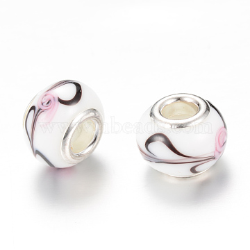 Rondelle Lampwork Large Hole European Beads, with Silver Color Plated Brass Cores, White, 13~14x10~11mm, Hole: 5mm(X-LPDL-R003-01A)