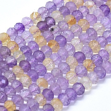 Natural Ametrine Beads Strands, Faceted, Rondelle, 6x4mm, Hole: 1mm; about 88pcs/strand, 15.35''(39cm)(G-D0013-61)