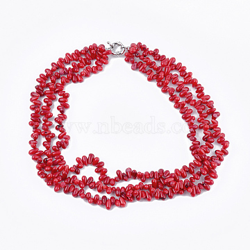 Sea Bamboo Coral(Imitation Coral) Beaded Multi-strand Necklaces, with Brass Spring Ring Clasps, Red, 20 inches(51cm)(NJEW-S414-53)