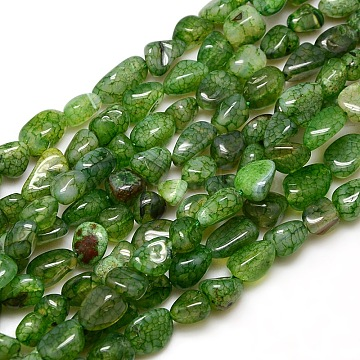 Chips Natural Crackle Agate Beads Strands, Dyed & Heated, LimeGreen, 8~16x8~12x6~10mm, Hole: 1mm; about 30~40pcs/strand, 15~16inches(G-P031-03)