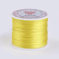 Chaîne de cristal élastique plat, fil de perles élastique, pour la fabrication de bracelets élastiques, jaune, 0.5 mm; environ 45 m/rouleau(EW-P002-0.5mm-A33)