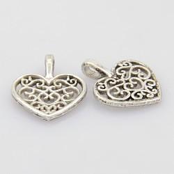 Antique Silver Alloy Hollow Heart Pendants, Lead Free, 18x15x2mm, Hole: 2x4mm