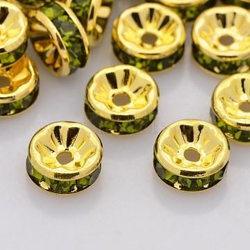 6mm Rondelle Brass+Rhinestone Spacer Beads