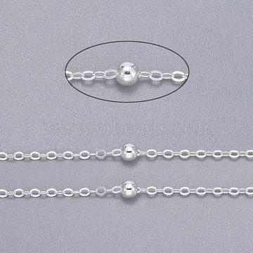 Brass Flat Oval Cable Chains, Satellite Chains, Unwelded, with Card Paper, Silver Color Plated, 2.2x1.7x0.23mm, Bead: 3.5mm(X-CHC018Y-S)