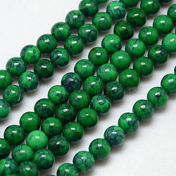 6mm DarkGreen Round Fossil Beads