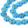 Deep Sky Blue Flat Round Millefiori Lampwork Beads(LK-R006-15M)