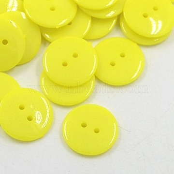 Acrylic Sewing Buttons, Plastic Buttons for Costume Design, 2-Hole, Dyed, Flat Round, Yellow, 24x3mm, Hole: 2mm(BUTT-E084-A-08)