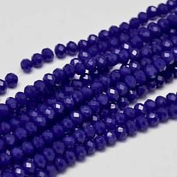 """Rondelles de perles de verre cristal de cristal facetté opaque de couleur unie, bleu, 6x4mm, trou: 1mm; environ 95 pcs/chapelet, 16.9""""(X-EGLA-F045A-03)"""