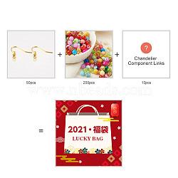 лотерейный мешок, Крючки для сережек железные: 50 шт. & Стеклянные бусины круглые 200 шт. И звенья компонентов люстры 10 шт., cmешанный цвет, 10~105 mm, cmешанный цвет, 10~105 mm