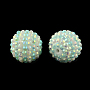 AB-Color Resin Rhinestone Round Beads, with Acrylic Beads Inside, Cyan, 22mm, Hole: 2~2.5mm