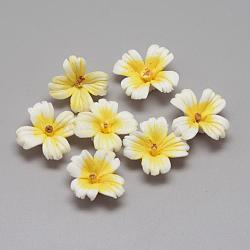 Фарфора ручной работы кабошонов, цветок, желтые, 21~25x21~25x7~9 мм(PORC-S1008-40)