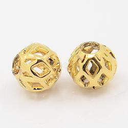 Brass Filigree Beads, Filigree Ball, Round, Golden, 7x8mm, Hole: 3mm(X-KK-C2988-G)