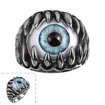Unique 316L Surgical Stainless Steel Men Rings, with Resin Eyes, Sky Blue, Antique Silver, US Size 8(18.1mm)(RJEW-BB06668-8)