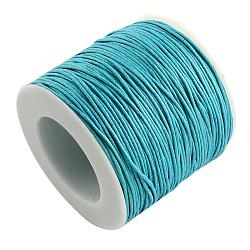 воском хлопчатобумажная нить шнуры, lightskyblue, 1 мм; около 100 ярдов / рулон (300 футов / рулон)