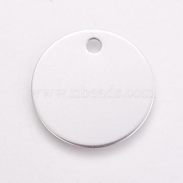 Pendentifs en aluminium, pet tag, plat rond, blanc, 25x1mm, Trou: 3mm(ALUM-WH0007-02B)