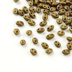 Perles de rocaille avec 2 trou, Perles de verre tchèques, cuivre plaqué, 5x3.5x3mm, trou: 0.5 mm; environ 260 pcs / 20 g(X-GLAA-R159-M601)