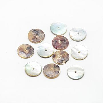 Natural Akoya Shell Bead Spacers, Mother of Pearl Shell Beads, Disc/Flat Round, Heishi Beads, Camel, 11~12x1~2mm, Hole: 1.5mm(SSHEL-R041-88)