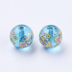 fleur photo perles de verre imprimé, arrondir, deepskyblue, 10x9 mm, trou: 1.5 mm(GLAA-E399-10mm-D02)