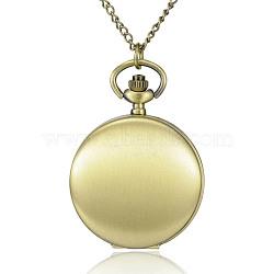 """Rondes alliage quartz montres de poche plats, avec des chaînes de fer et claspss pince de homard, bronze antique, 31.4""""; cadran montre: 64x47x15 mm; boitier montre: 37 mm(WACH-N039-04AB-A)"""