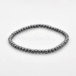 Non-magnétiques bracelets hématite perles balle en stretch pour un cadeau de Saint-Valentin, 54mm(BJEW-M066-A-02)