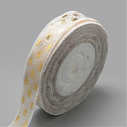 """Ruban satin polyester imprimé face unique, motif de goutte d'or, blanc, 7/8"""" (23mm); Environ 50 heures / rouleau(SRIB-Q013-23mm-06)"""
