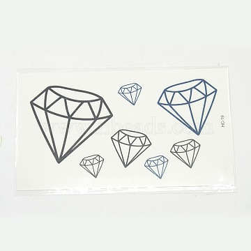 Cool Body Art Mixed Diamond Shapes Removable Fake Temporary Tattoos Paper Stickers, Mixed Color, 12~39x12~42mm(X-AJEW-O006-01)