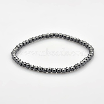 Non-magnetic Hematite Beaded Ball Stretch Bracelets for Valentine's Day Gift, 54mm(BJEW-M066-A-02)