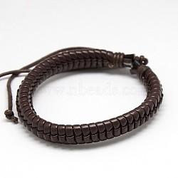 Cuir style décontracté enveloppé PU bracelets en cuir, avec cordon ciré, marron, 54mm(X-BJEW-L308-15)