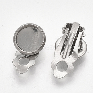 304 Stainless Steel Clip-on Earring Findings, Flat Round, Stainless Steel Color, 18x11.5x7mm, Hole: 3mm; Tray: 10mm(X-STAS-S079-81B)